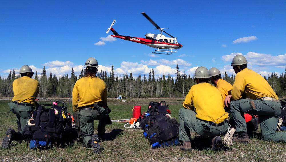 A helitack crew assigned to the Oregon Lakes Fire in Alaska.
